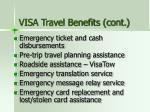 visa travel benefits cont