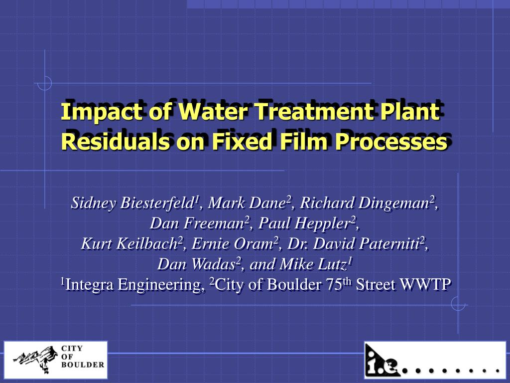 impact of water treatment plant residuals on fixed film processes l.