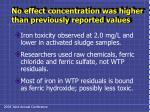 no effect concentration was higher than previously reported values