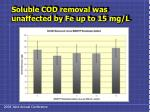 soluble cod removal was unaffected by fe up to 15 mg l