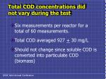 total cod concentrations did not vary during the test