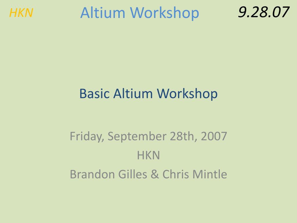 basic altium workshop l.