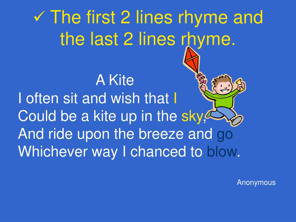 rhyme with the help of last