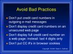 avoid bad practices