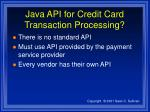 java api for credit card transaction processing