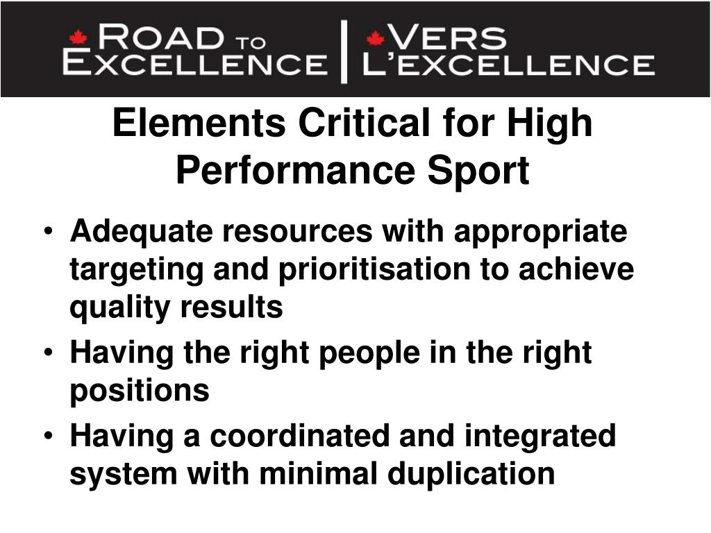 Elements Critical for High Performance Sport