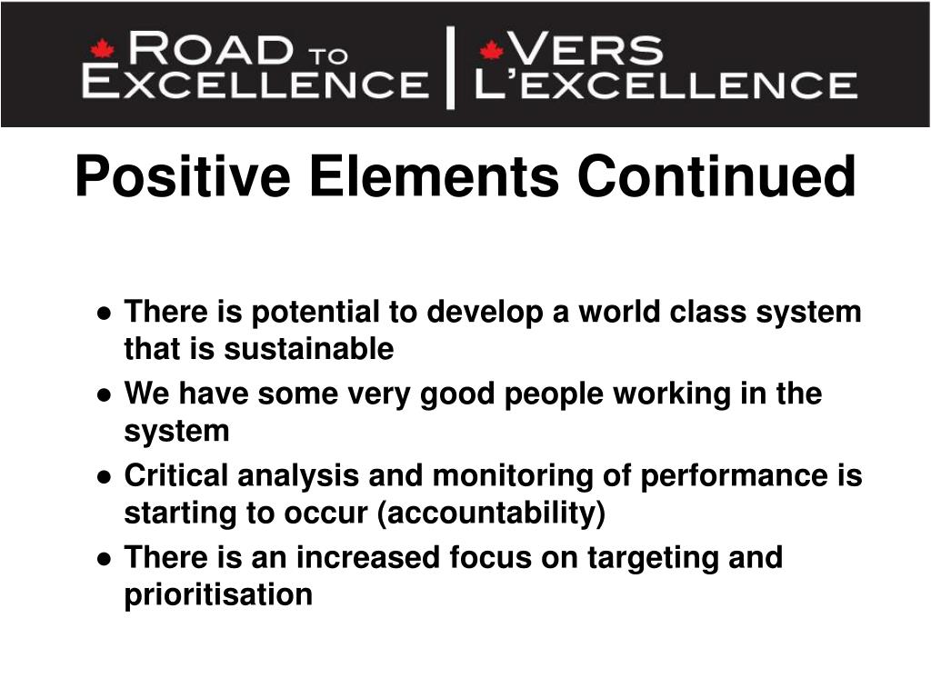 Positive Elements Continued