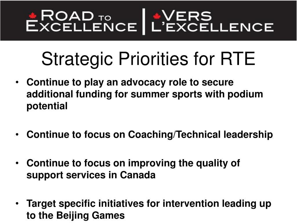 Strategic Priorities for RTE