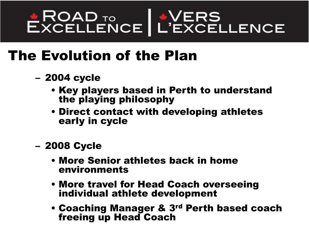 The Evolution of the Plan