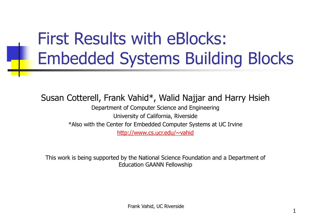 first results with eblocks embedded systems building blocks l.