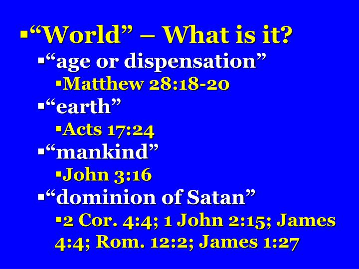"""""""World"""" – What is it?"""