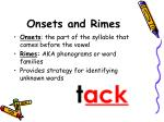 onsets and rimes