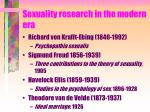 sexuality research in the modern era
