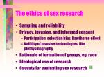 the ethics of sex research