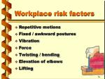 workplace risk factors