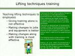 lifting techniques training
