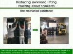 reducing awkward lifting reaching above shoulders37