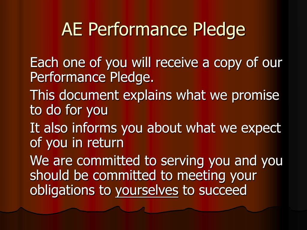 AE Performance Pledge