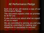 ae performance pledge