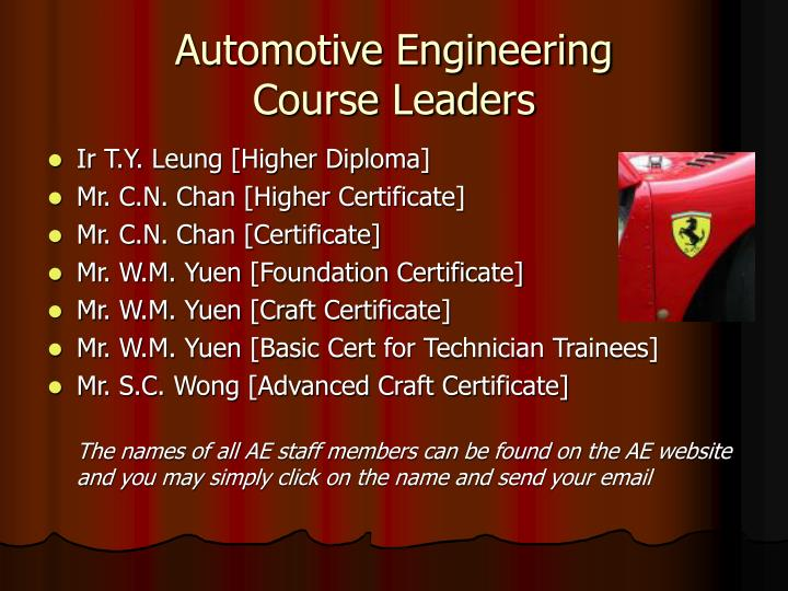 Automotive engineering course leaders