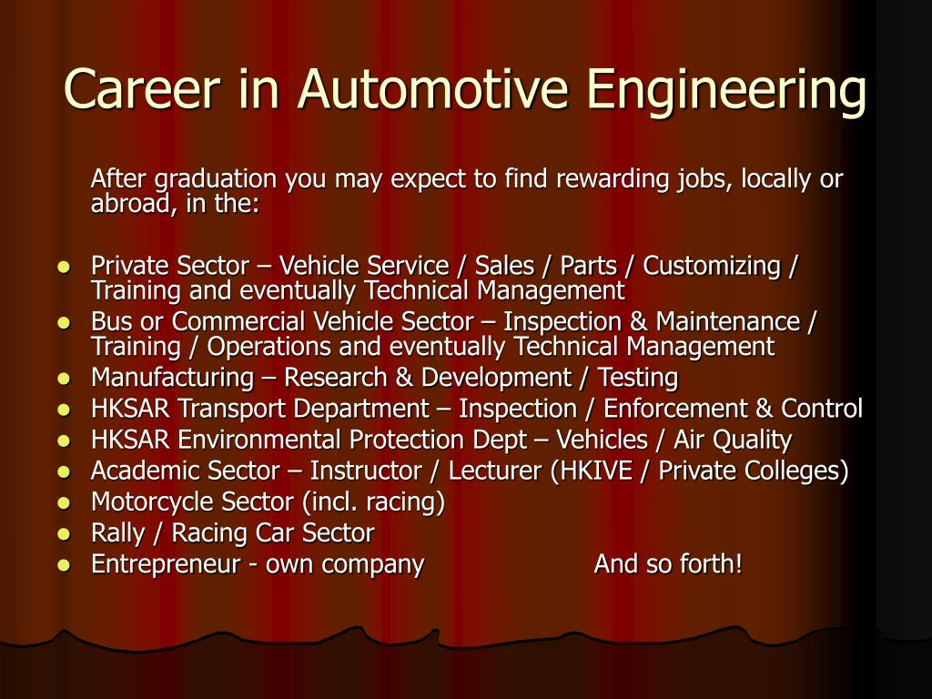 Career in Automotive Engineering