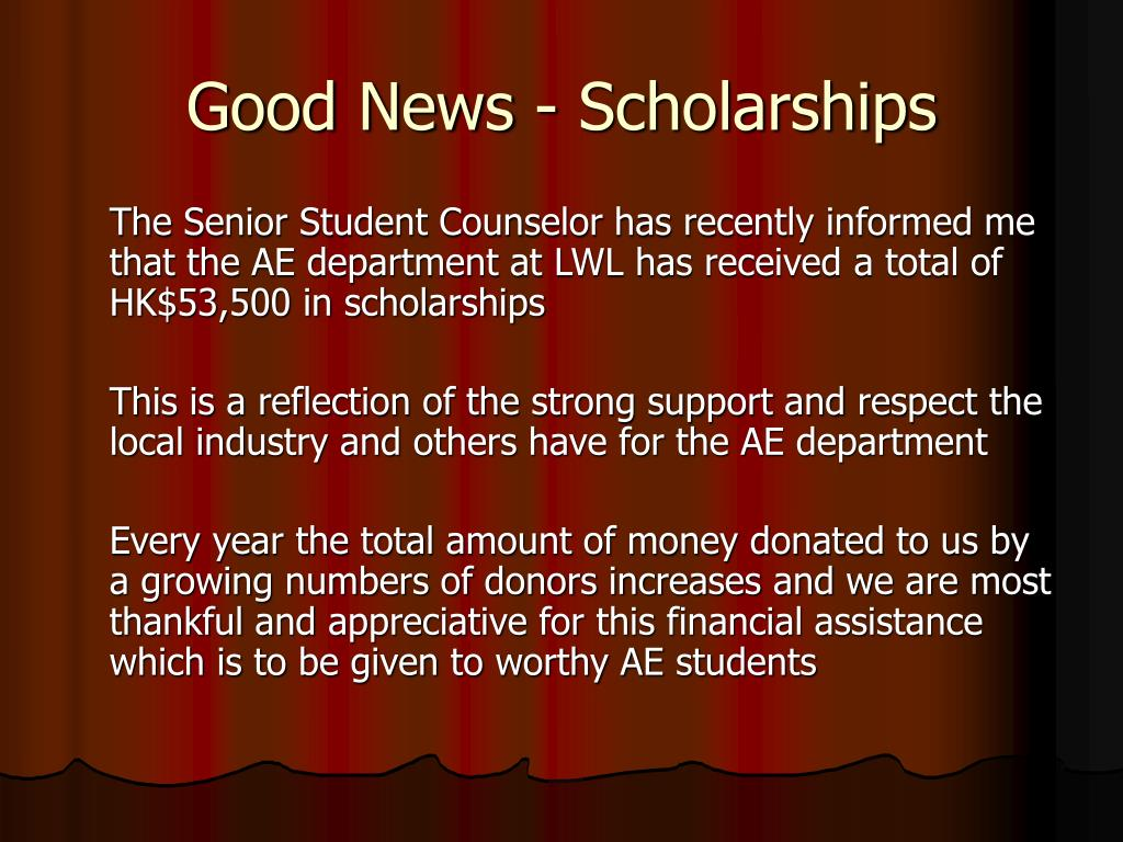 Good News - Scholarships