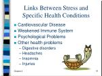links between stress and specific health conditions