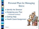 personal plan for managing stress