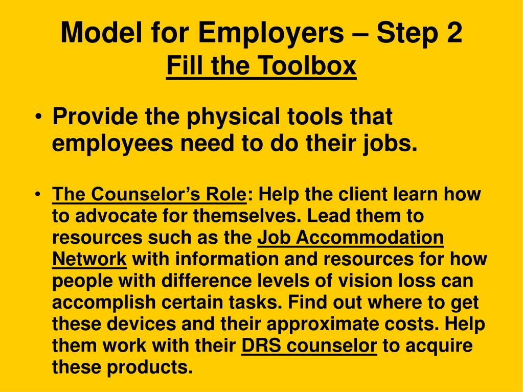 Model for Employers – Step 2