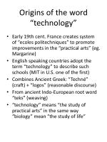 origins of the word technology