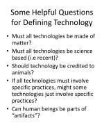 some helpful questions for defining technology