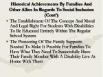 historical achievements by families and other allies in regards to social inclusion cont