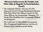 historical achievements by families and other allies in regards to social inclusion cont8
