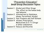 prevention education small group discussion topics