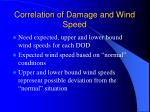 correlation of damage and wind speed