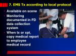 7 ems tx according to local protocol