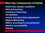 nine key components of rehab