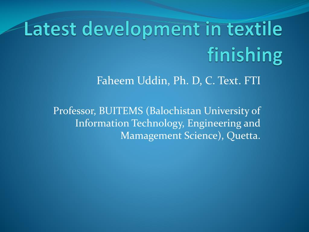latest development in textile finishing l.