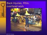 back injuries rsis overhead work