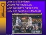 laws and standards ontario provincial law caw collective agreements csa and corporate standards
