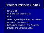 program partners india