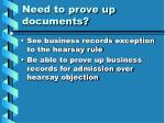 need to prove up documents