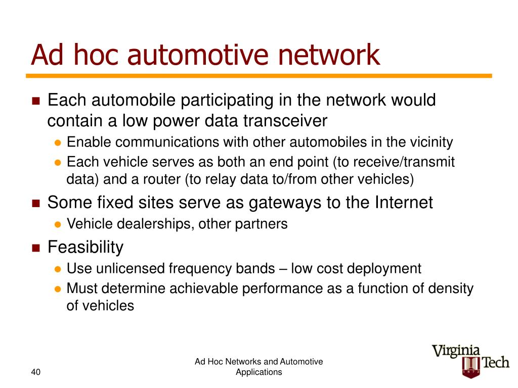 Ad hoc automotive network