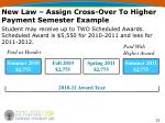 new law assign cross over to higher payment semester example