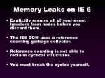 memory leaks on ie 6