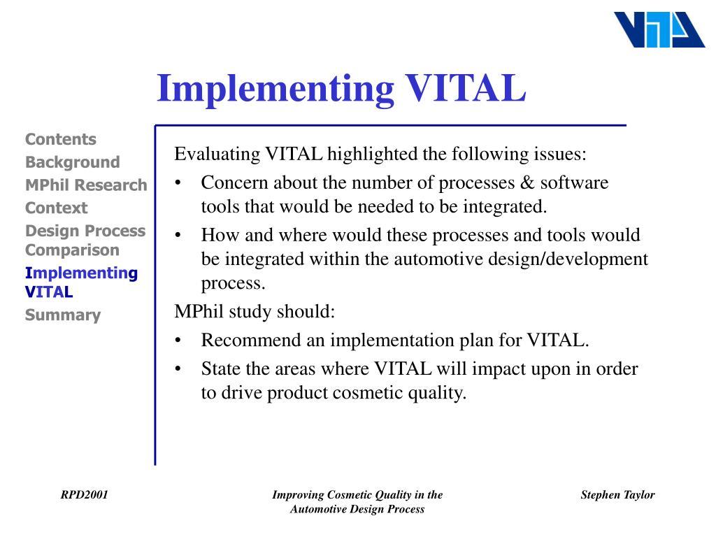 Implementing VITAL
