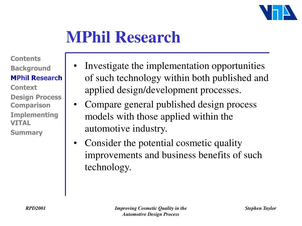 MPhil Research