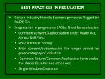 best practices in regulation