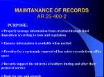maintanance of records ar 25 400 2