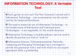 information technology a veritable tool